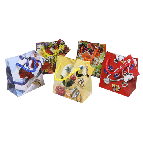 50970 Сумочка бумажная ламинированная (8x 9x5см) цветы