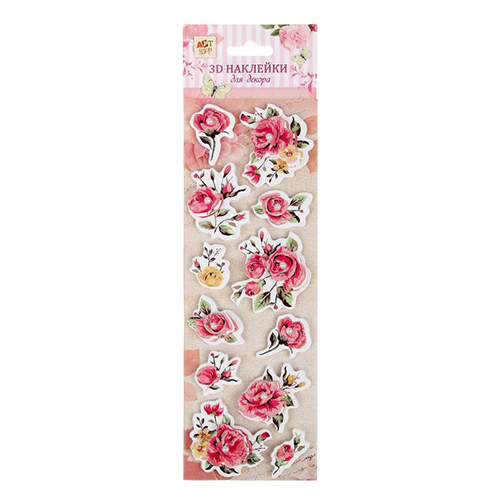 1048285 Наклейка для декора 3D 'Розовые розы' с клейкой лентой
