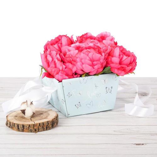 2955341 Коробка переноска квадратная «С бабочками», 16,8 х 17 х 10,2 см