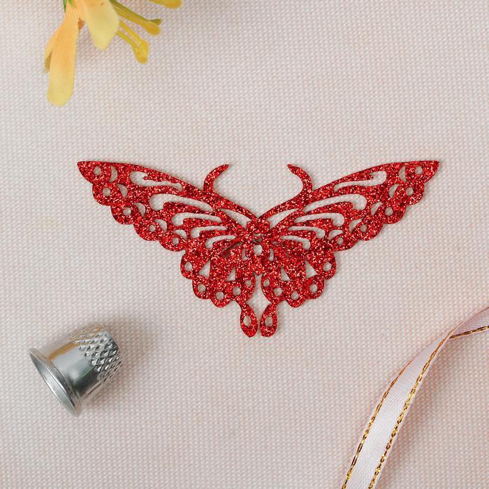 2802269 Термоаппликация блёстки бабочка 8*4см красный