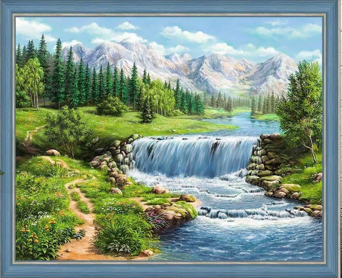 АЖ-1686 Картина стразами 'Полдень у реки' 50*40см
