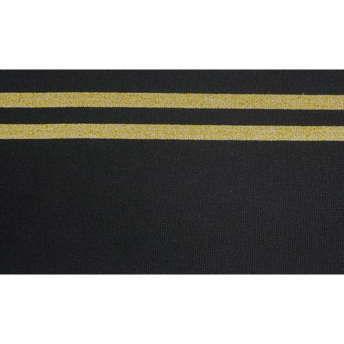 TBY.MP01 Подвяз трикотажный (98%полиэстер, 2%спандэкс), 1мх13см, цв.черный с золотыми полосами