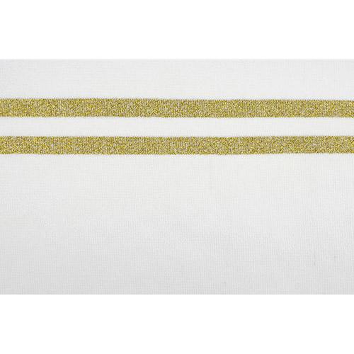 TBY.MP02 Подвяз трикотажный (98%полиэстер, 2%спандэкс), 1мх13см, цв.молочный с золотыми полосами
