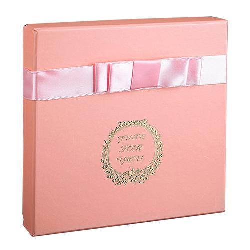 2850926 Коробка подарочная персик 17* 17*4 см