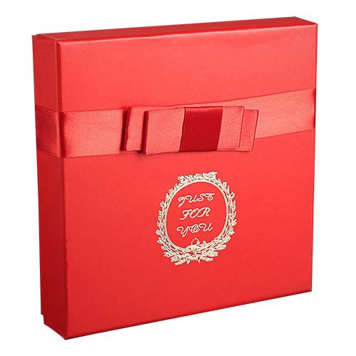 2850927 Коробка подарочная красный 17* 17*4 см