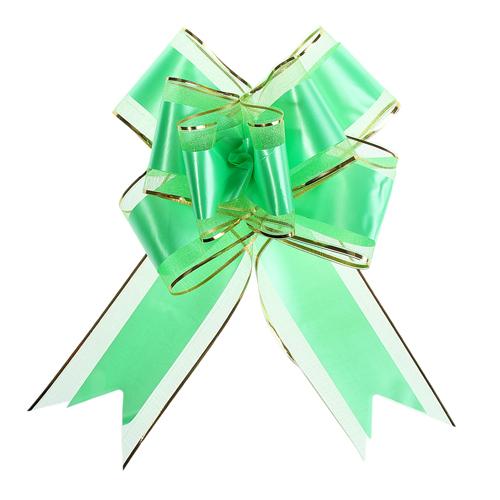 1020430 Бант-бабочка №7 органза с полосой пластик, зелёный