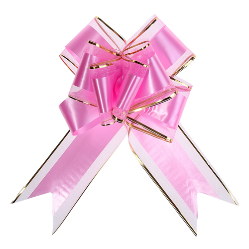 1020435 Бант-бабочка №7 органза с полосой пластик, розовый
