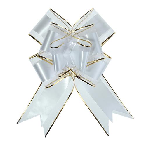1020433 Бант-бабочка №7 органза с полосой пластик, белый