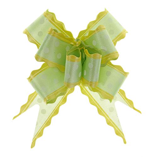 141407 Бант-бабочка №3 белый горох на зеленом