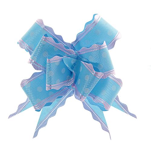 141408 Бант-бабочка №3 белый горох на голубом