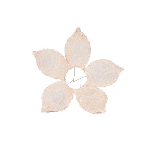 1239944379 Каркас для букета Цветок с острыми лепестками, сизаль 25см кремовый