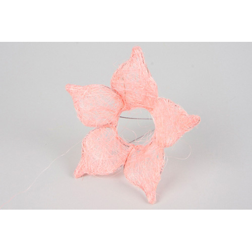1239933243 Каркас для букета Цветок с острыми лепестками, сизаль 25см светло-розовый