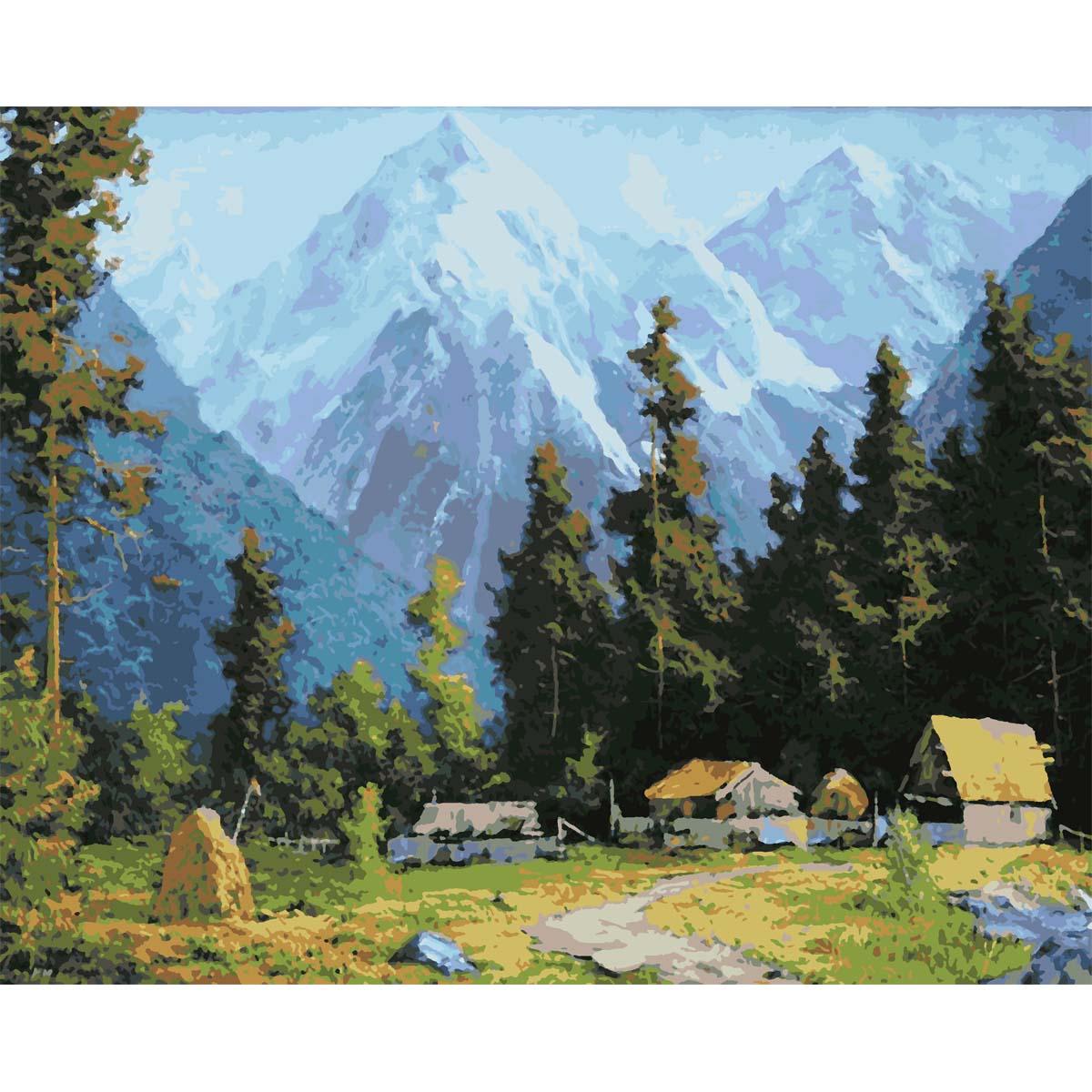 HS0116 Набор для рисования по номерам 'Деревня в горах' 40*50см