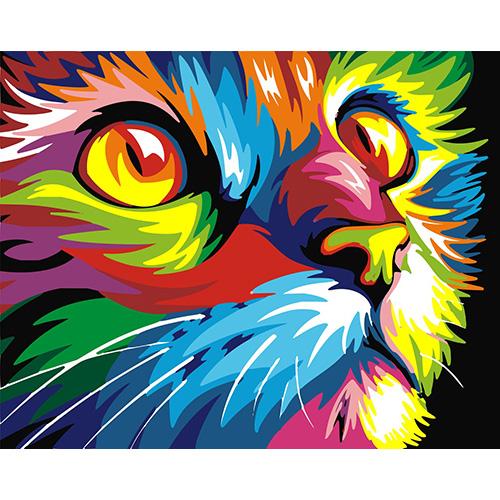 HS0128 Набор для рисования по номерам 'Радужный кот' 40*50см