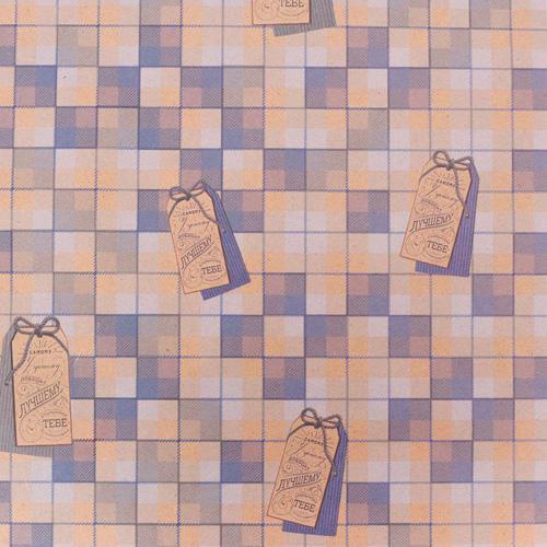 2791549 Бумага упаковочная крафтовая «Клетка», 50*70 см
