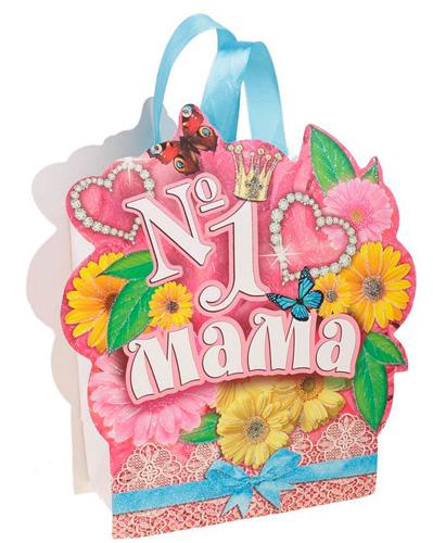565321 пакет открытка с блёстками «Мама №1»