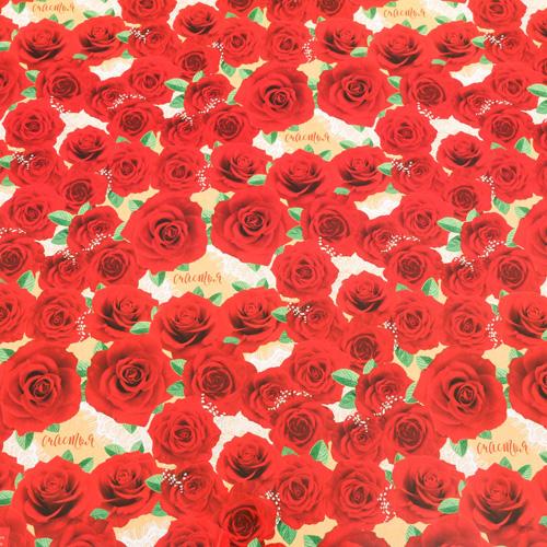 3413599 Бумага упаковочная глянцевая «Розы», 50*70 см