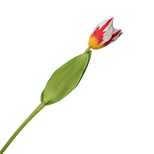 2248820 Цветок искусственный 'Тюльпан Хавран' 4*34 см, бело-красный