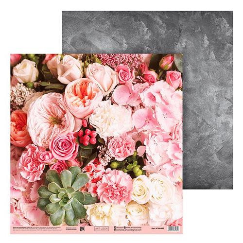 4166482 Бумага для скрапбукинга «Цветочный букет», 30.5*32 см, 180 г/м