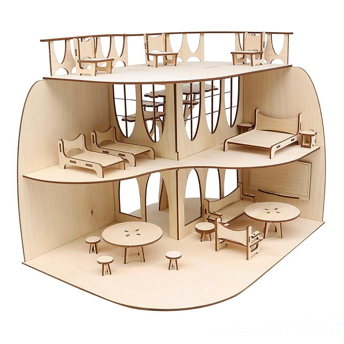 L-1127 Деревянная заготовка Дом с мебелью 60*30см АСТРА