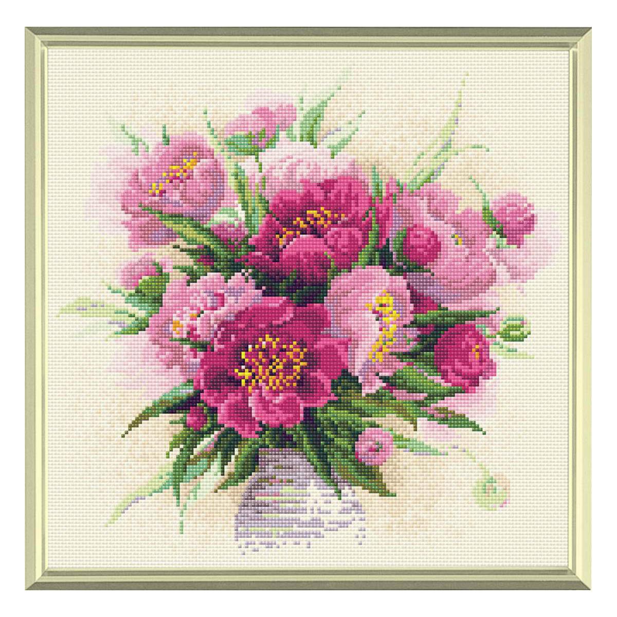 AM0009 Набор алмазной мозаики Риолис «Пионы в вазе» 38*38см