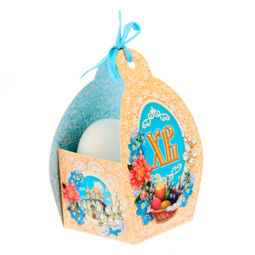 1193844 Коробочка подарочная для яйца 'ХВ' храм, 13,4*26,2 см