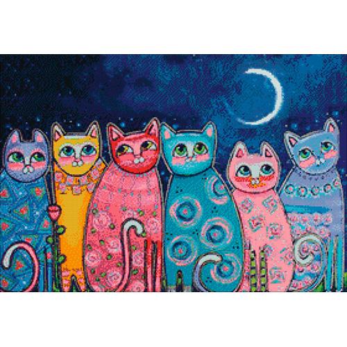 Ag 678 Набор д/изготовления картин со стразами 'Разноцветные коты' 70*48см Гранни