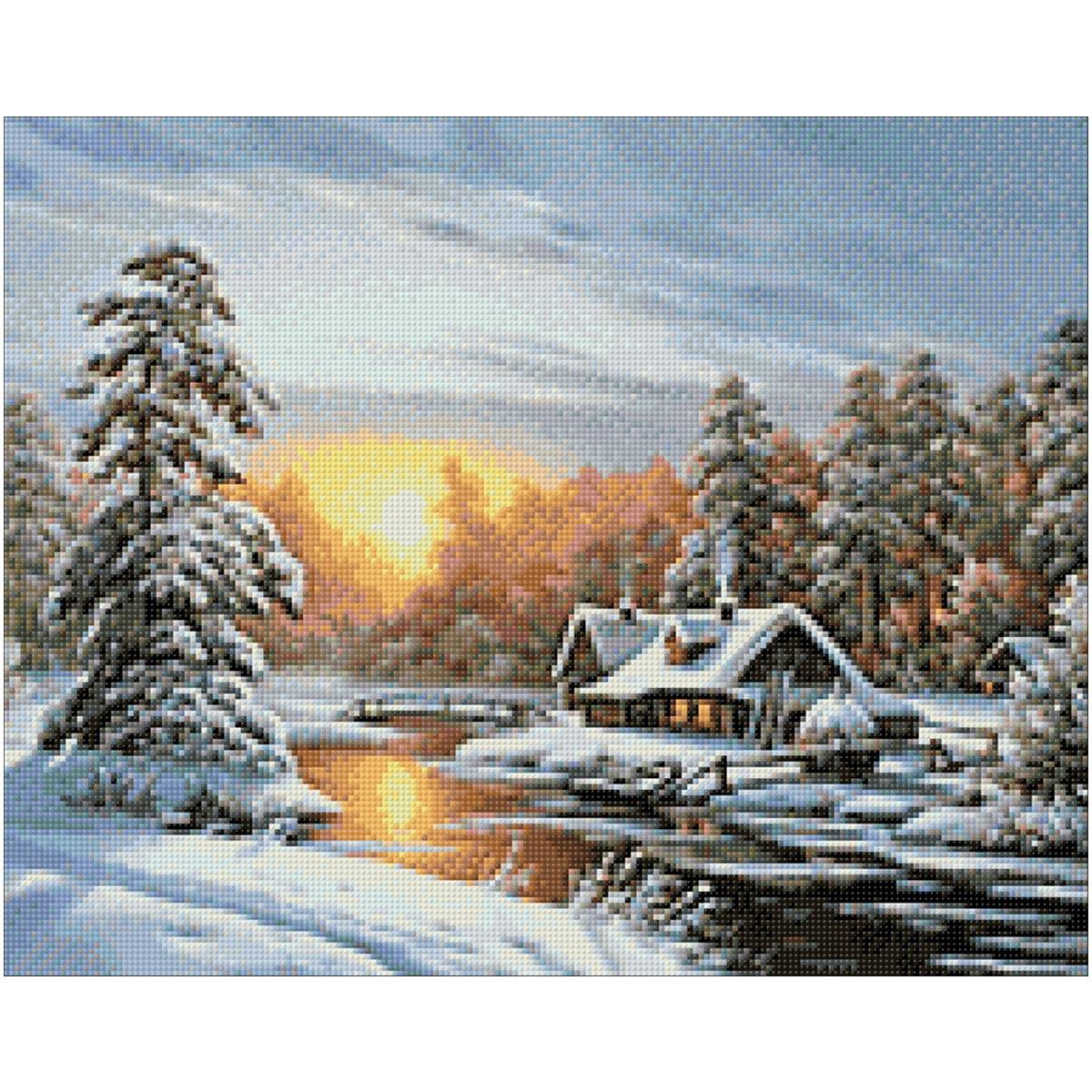 Ag 330 Набор д/изготовления картин со стразами 'Морозное утро' 48*38см Гранни