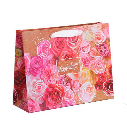 3680922 Пакет горизонтальный крафтовый «Цветочное настроение», MS 23*18*8 см