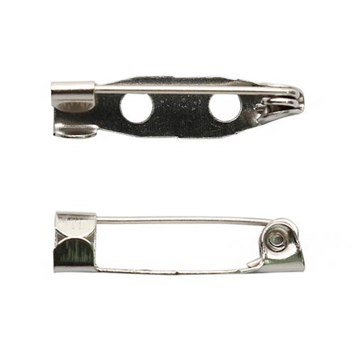 1375816 Основа для броши металл 2 отв 3,2см упак/10шт, серебряный