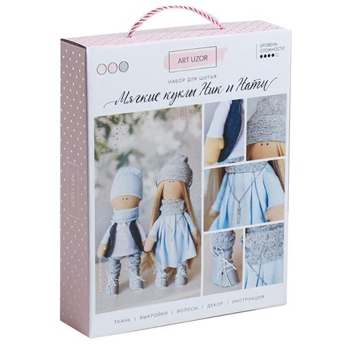 3548690 Интерьерные куклы 'Ник и Нати', набор для шитья, 18*22.5*4.5 см