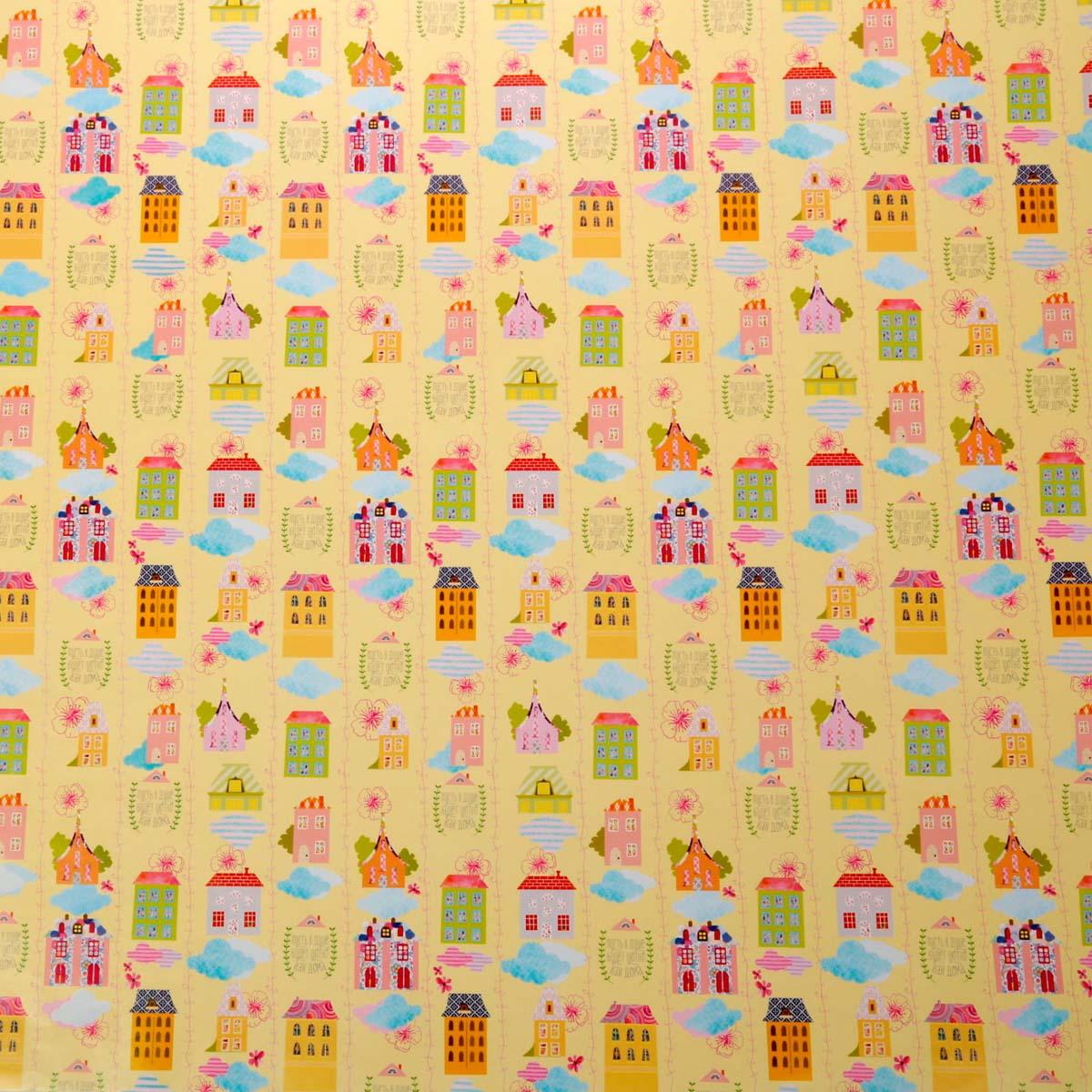 1963116 Бумага упаковочная глянцевая 'Уютные домики', 70*100 см