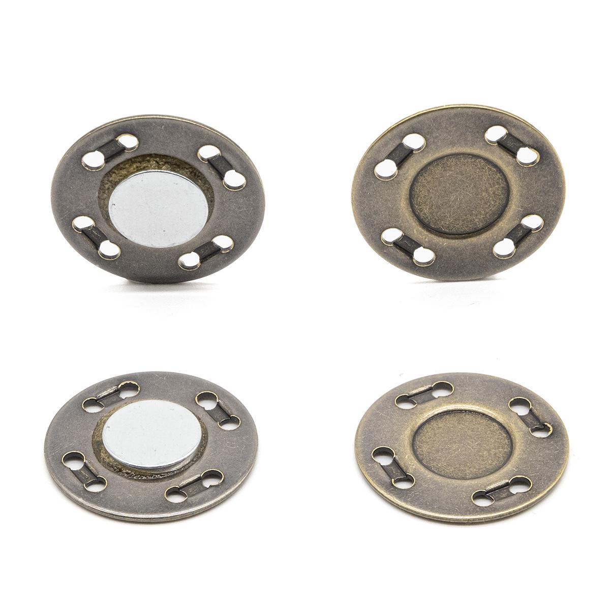 69017 Кнопка магнитная пришивн. 20мм латунь ГР