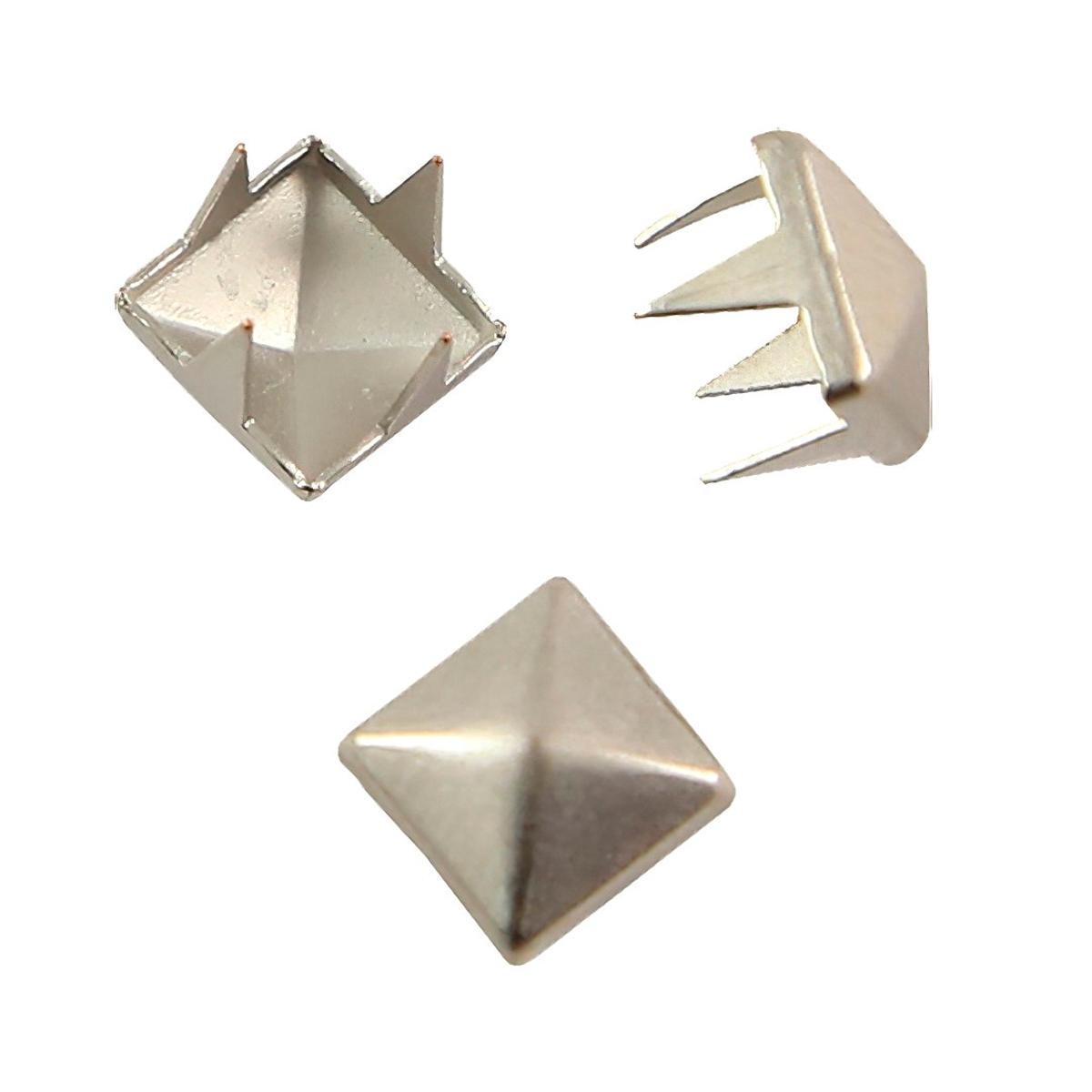 53921 Украшение 6*6мм на шипах сереб. 'пирамидка' ГР