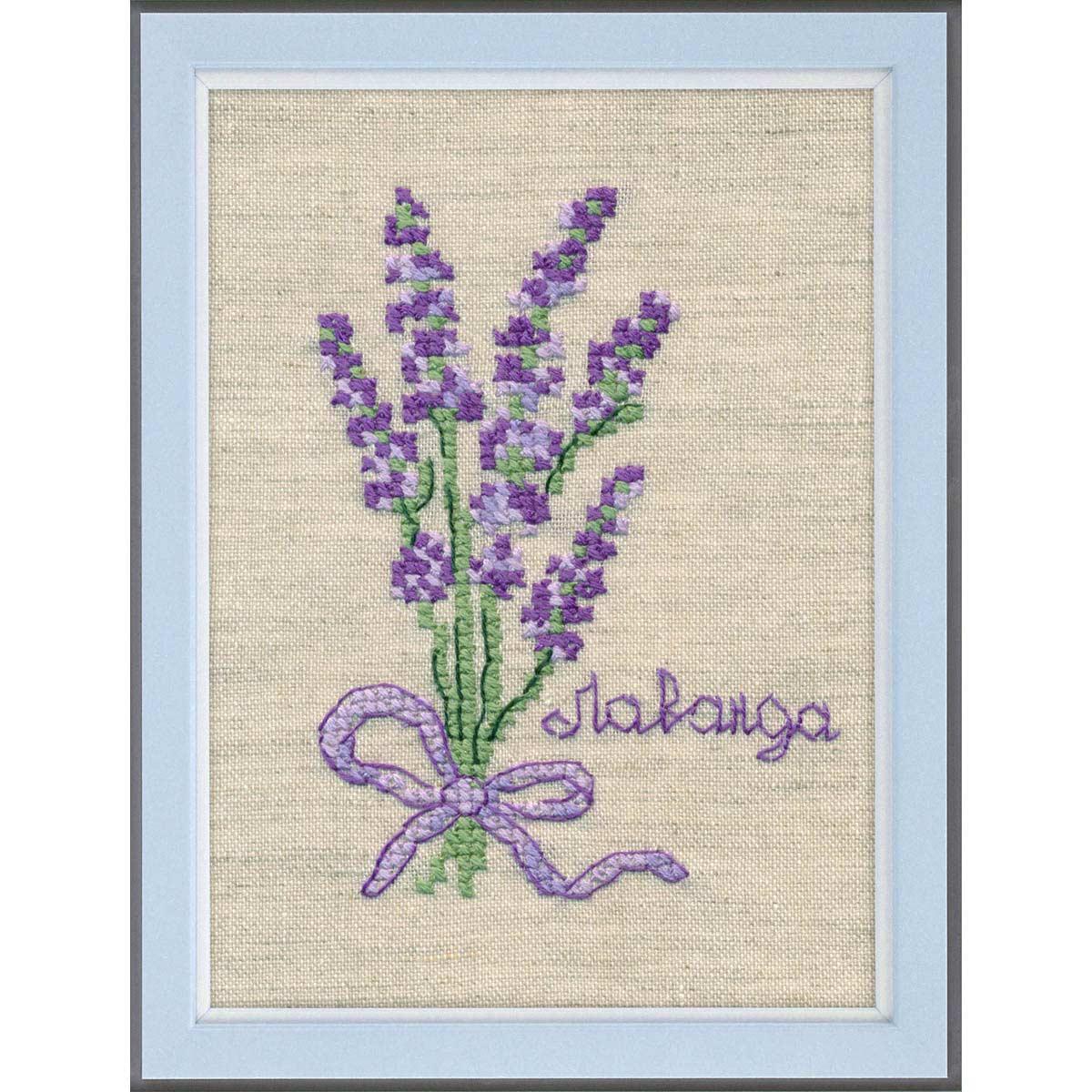 1185 Набор для вышивания(водорастворимая канва вышивается на ткани) ОВЕН ' Лаванда '9.4*7см