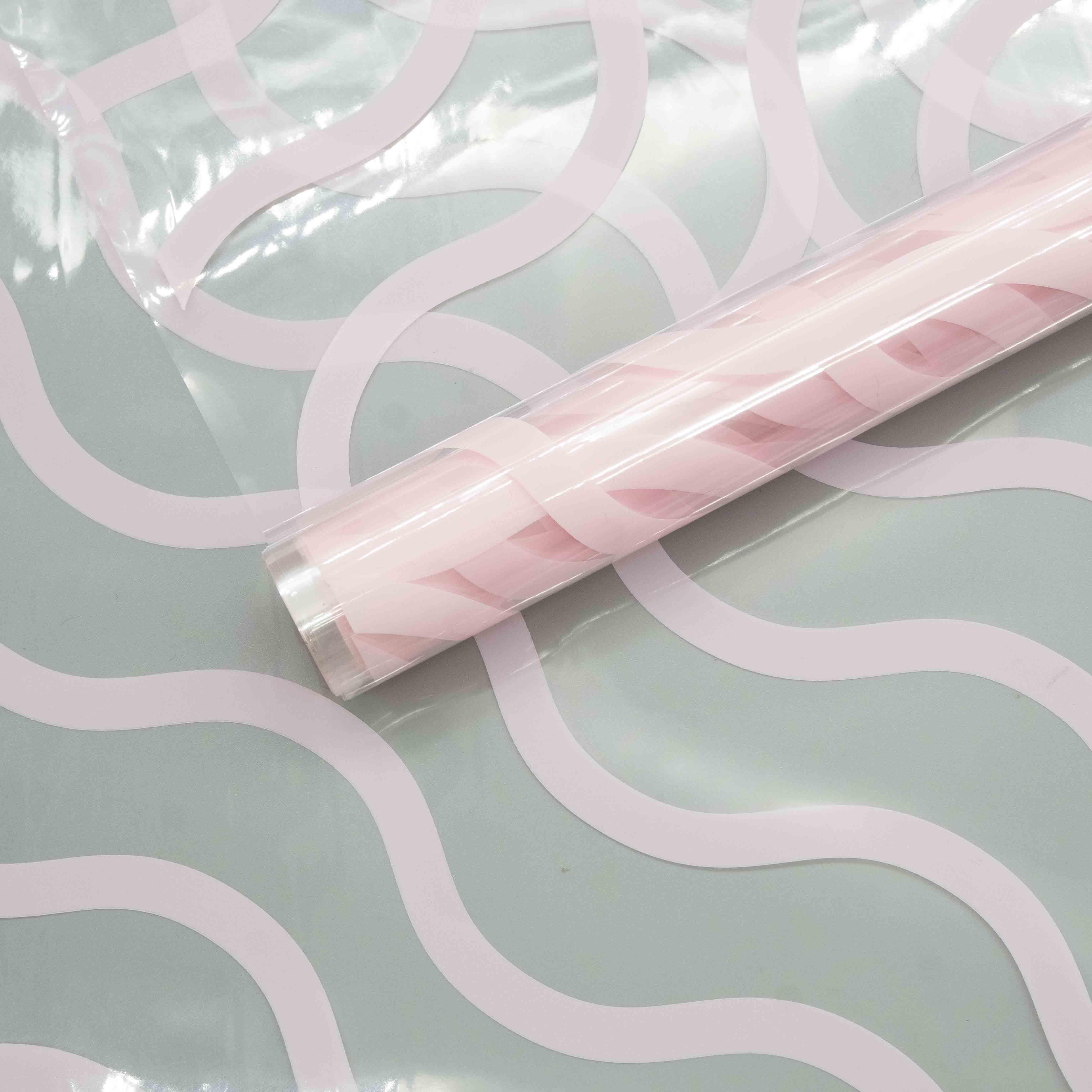 71447 Пленка цветная Волна 60см*7,8м розовый жемчужный