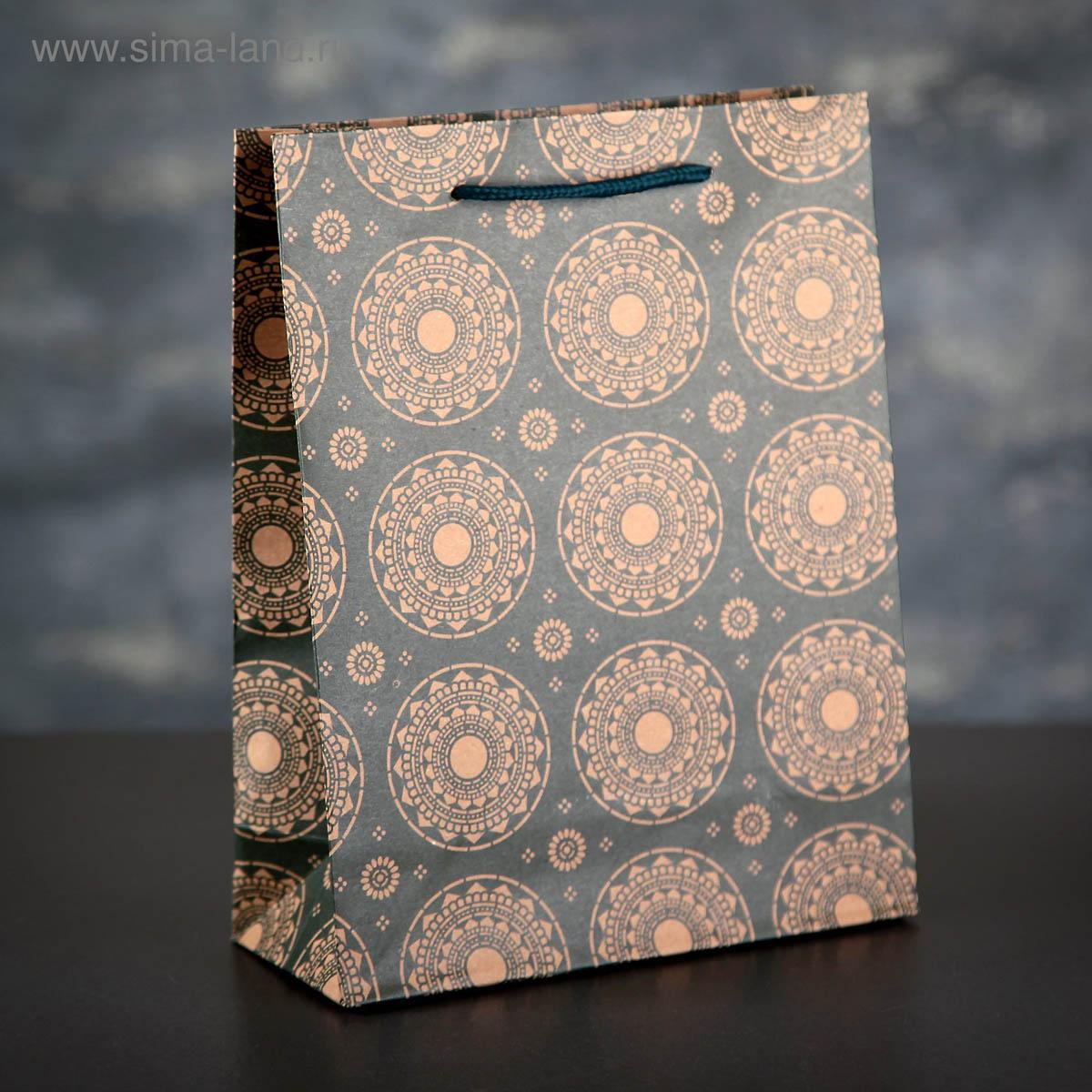 1258424 Пакет крафт 'Ажурные круги', 19*24*8 см
