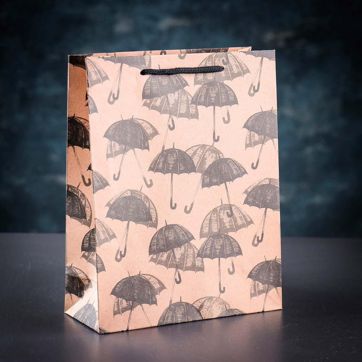 3681236 Пакет крафт 'Зонтики', 19*24*8 см