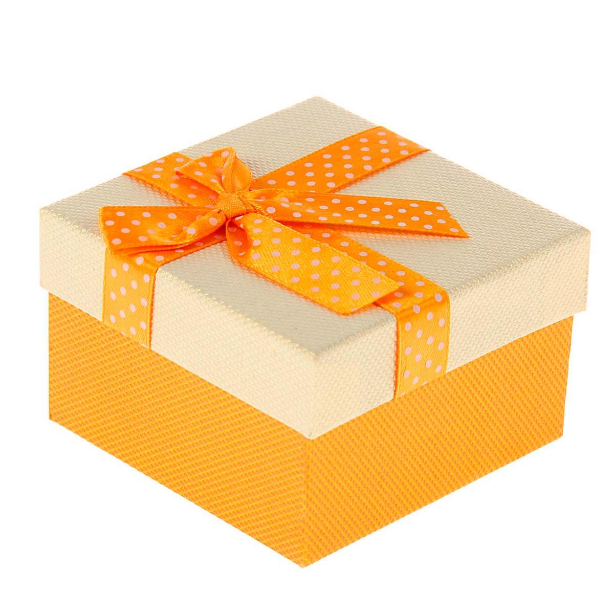 1150627 Коробка подарочная квадрат 'Бант' 9*9*5,5 см желтый