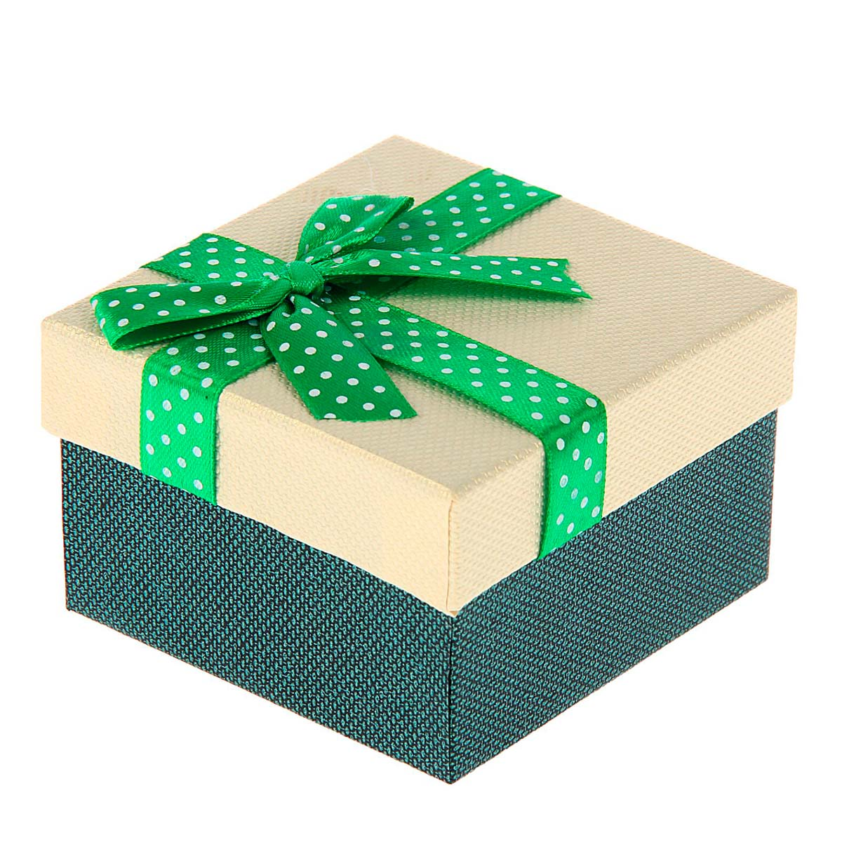 1150629 Коробка подарочная квадрат 'Бант' 9*9*5,5 см , зелёный