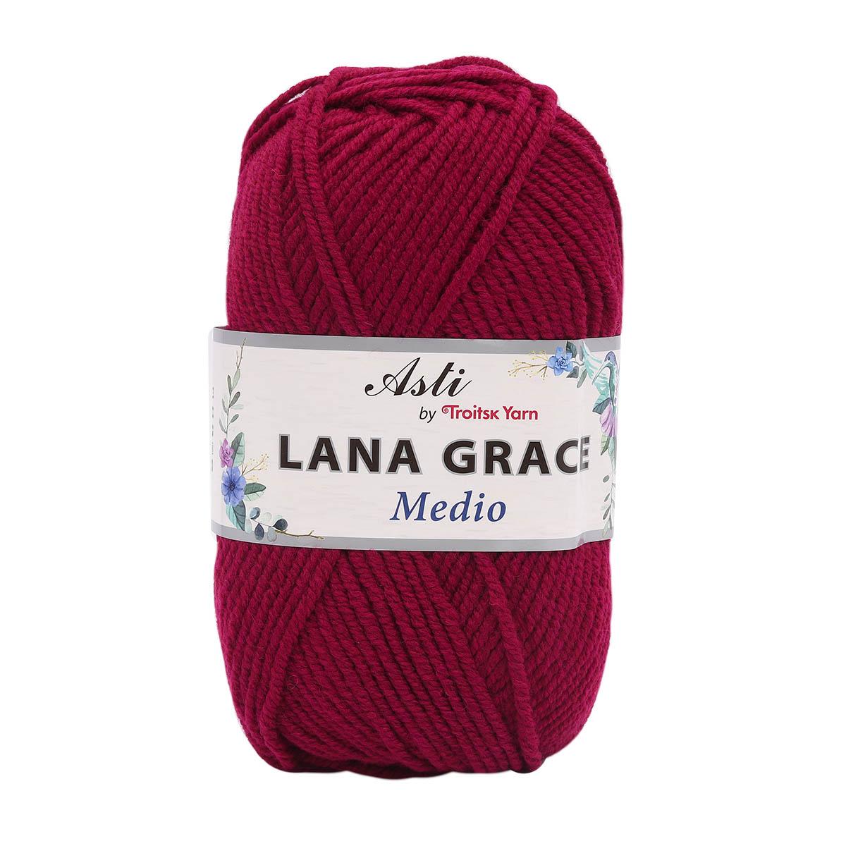 Пряжа из Троицка 'Lana Grace Medio' 100гр. 170м. (25% мериносовая шерсть, 75% акрил супер софт) (1425 винный) фото