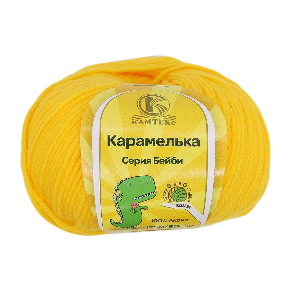Пряжа Камтекс 'Карамелька' 50гр.175м. (100% акрил) (104 желтый)
