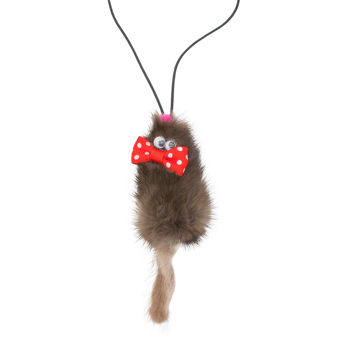 yk-01018 Подвеска на автозеркало из натуральной норки Мышка с бантиком Микки