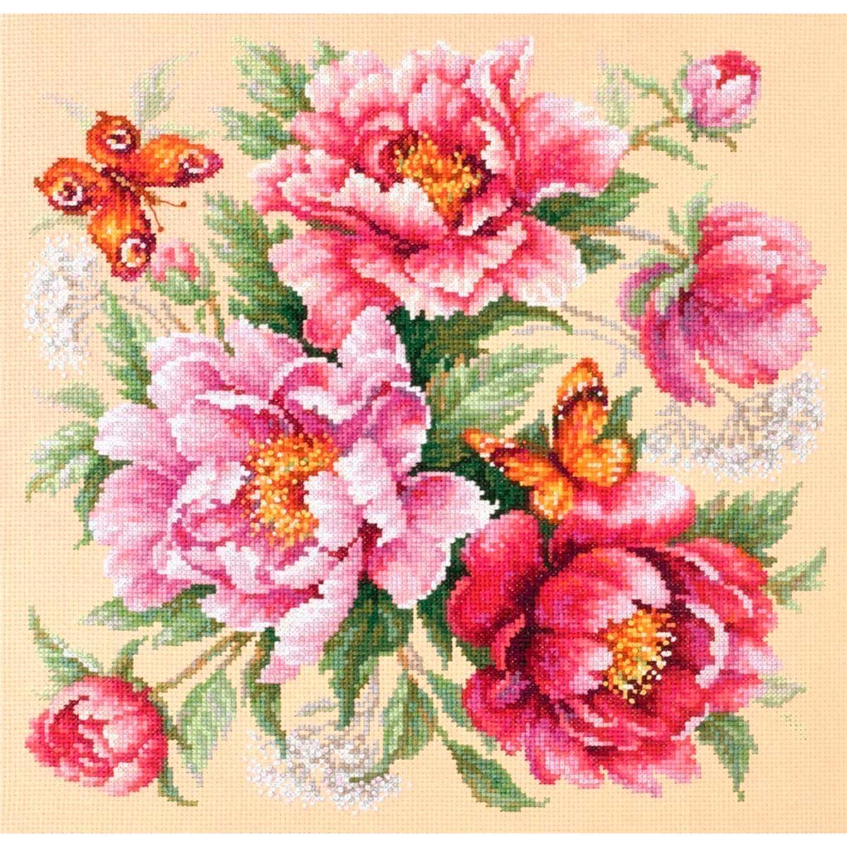 140-001 Набор для вышивания Чудесная игла 'Магия цветов. Пионы '30*30см
