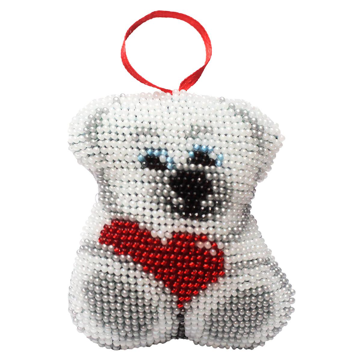 БИ-114 Набор для вышивания Бисером'Созвездие'. Новогодняя игрушка 'Любимый Медевежонок' 7,5*8,5 см