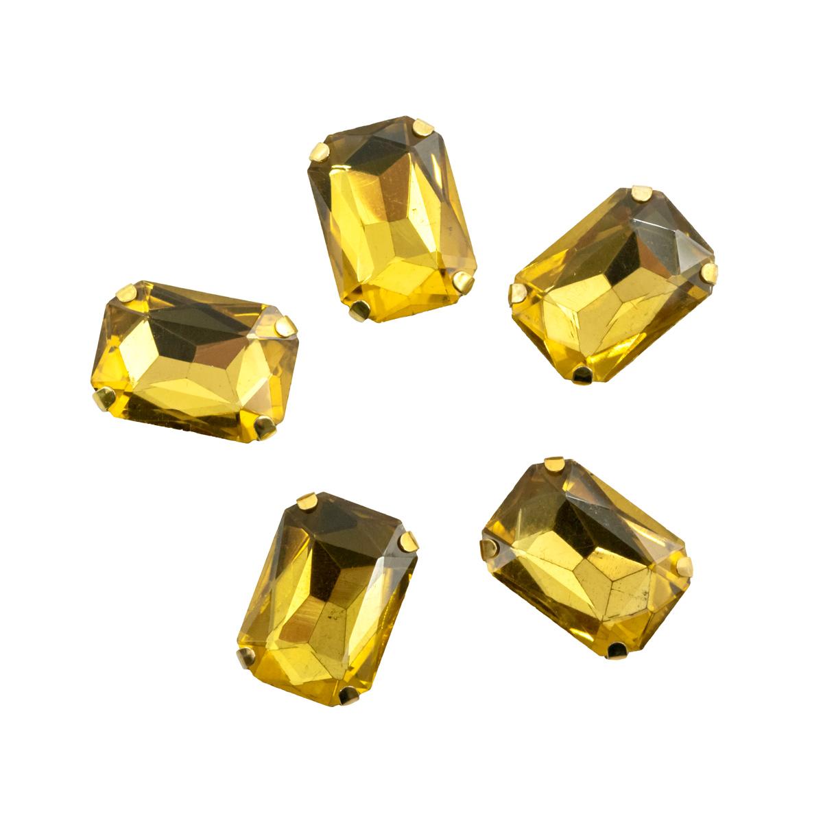 ПЦ002НН1014 Хрустальные стразы в цапах прямоугольные (золото) желтый 10*14мм, 5шт/упак Астра