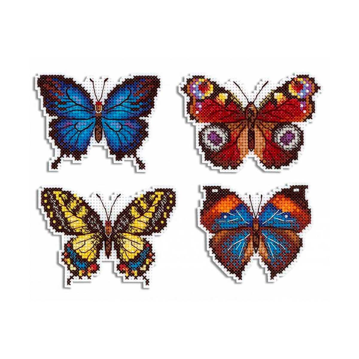 Р-485 Набор для вышивания на пластиковой канве МП Студия 'Яркие бабочки'6*9см