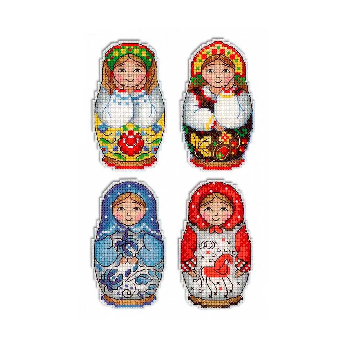 Р-337 Набор для вышивания на пластиковой канве МП Студия 'Русские матрешки. Магниты'9*5см