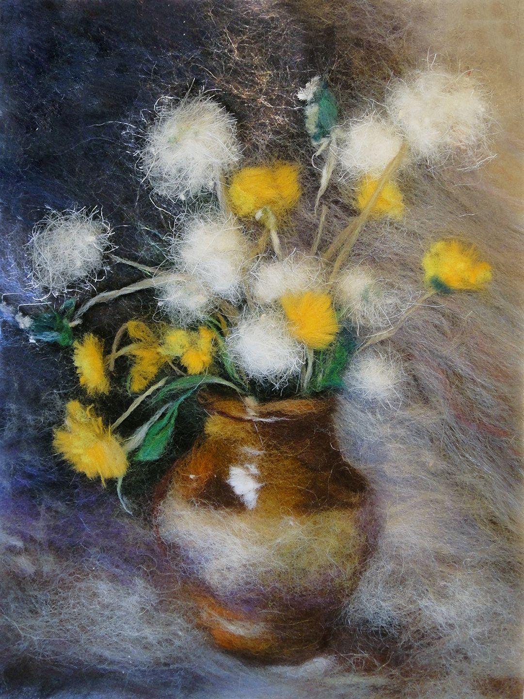 Набор для валяния (живопись цветной шерстью) 'Весенний букет' 21x29,7см (А4)