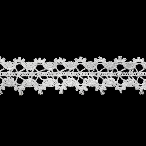50-1369/01 Тесьма вяз ажур х/б 30мм*25м бел двухстор